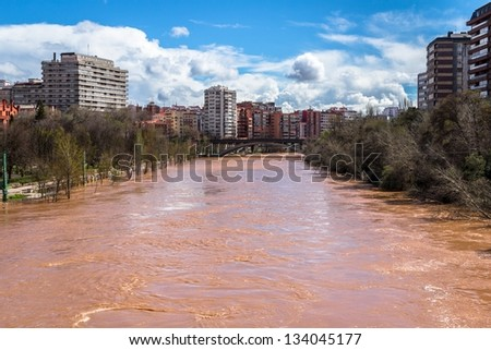 The Pisuerga river overflow in Valladolid, Spain.