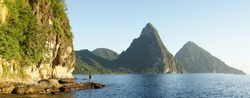 The Piton Mountains on the tropical Caribbean Island Saint Lucia.