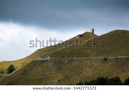 """the places of the battles of the great war. view of the """"Vedetta"""" on Monte Grappa"""