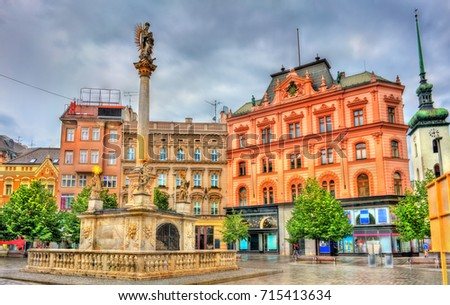 The Plague Column on Freedom Square in Brno - Moravia, Czech Republic