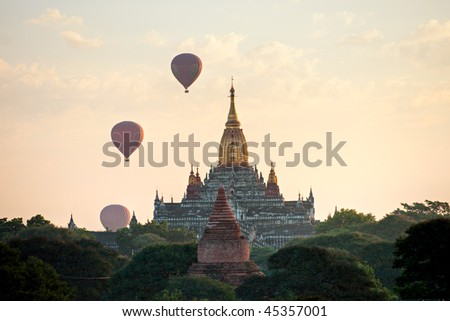 The plain of Bagan at sunrise, Myanmar.