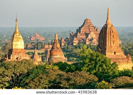 The plain of Bagan at sunset, Myanmar.