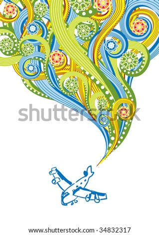 The plane in abstract collage. Format A4. See this illustration in vector in my portfolio.