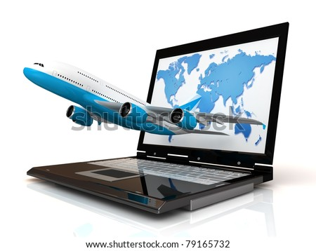 The plane takes off from the laptop monitor