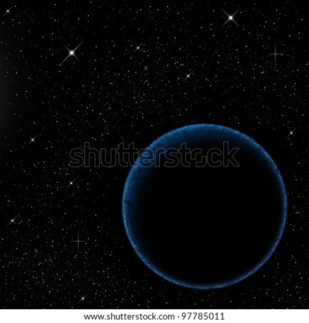 The planet and blue glow - stock photo