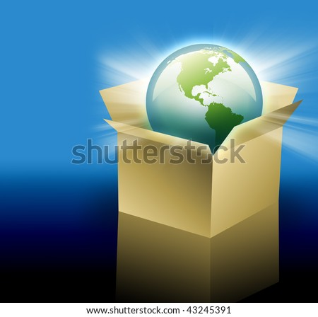The planet Earth is inside of a cardboard delivery box for shipping.  Can be used for international shipping and travel for your business.