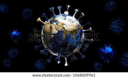 The planet earth transform to virus on isolated black background with clipping path. 3d illustration for corona virus or COVID-19 attack the world. Virus illustration concept for poster and banner.