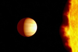 The planet is very close to a hot star. Elements of this image were furnished by NASA.