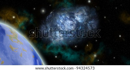 the planet land and nebula in outer spaces.