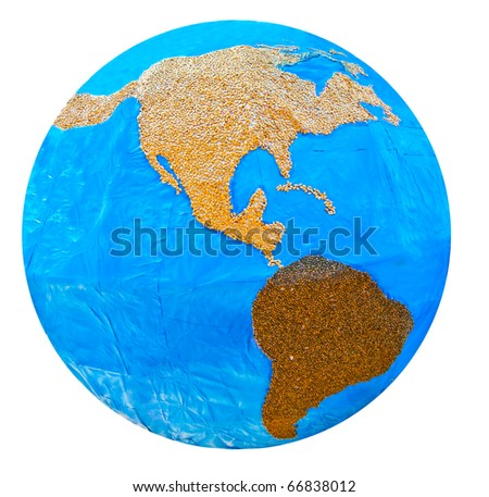 The Planet of  Zone north america and south america made of seed isolated on white background