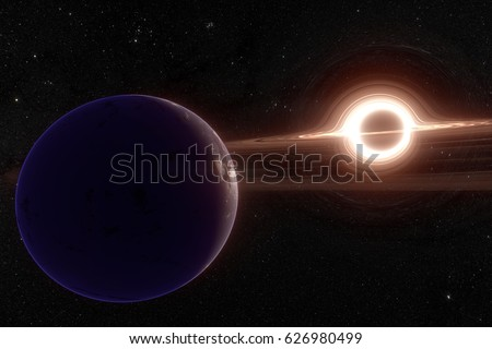 Photo of  the planet orbit the black hole. Elements of this image furnished by NASA
