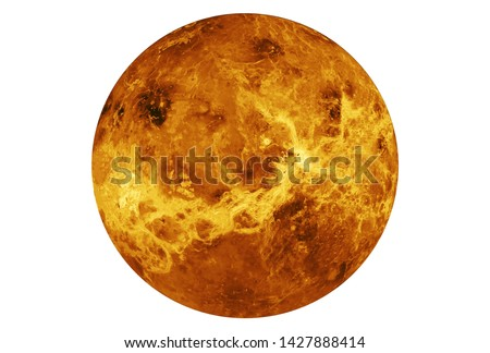 The planet Venus is entirely isolated on white background. Elements of this image were furnished by NASA. For all purposes
