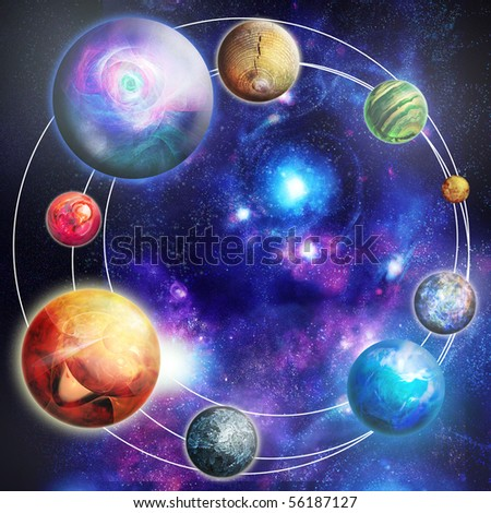 The planets in the star sky, digital picture