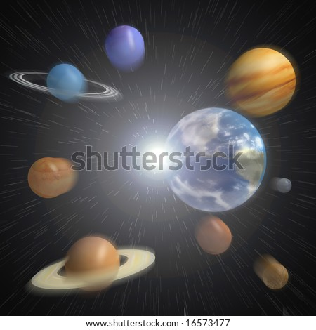 The planets of our solar system emerging from an explosion.