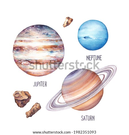 The planets of the Solar system on white background. Jupiter, Saturn, Neptune and asteroids. Watercolor illustration