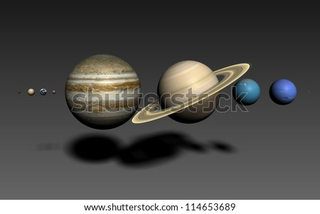 The planets of the solar system, rendered using the best available NASA imagery. The relative sizes are correct. Elements of this image furnished by NASA. 16:10 format.