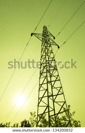 The plant power tower at sunset