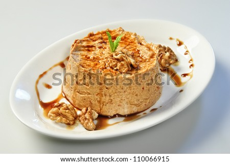 The plate of Arabic traditional hummus.