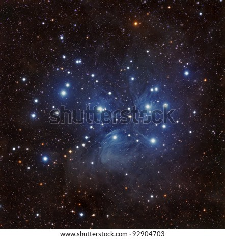 The Pleiades Star Cluster, Also Known as The Seven Sisters