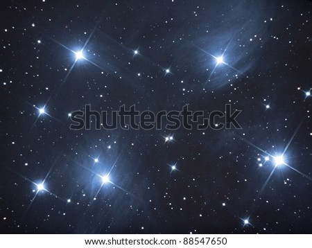 The Pleides / The 7 Sisters / View of the Pleides open star cluster