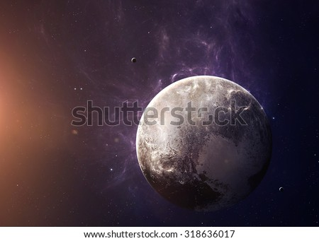 The Pluto with moons shot from space showing all they beauty. Extremely detailed image, including elements furnished by NASA. Other orientations and planets available. #318636017