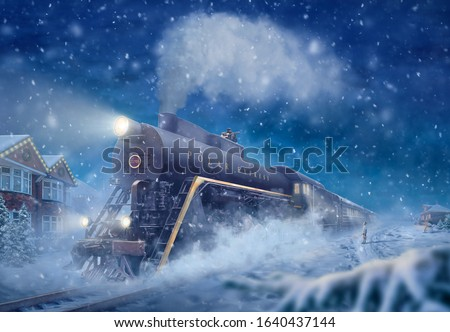 The polar express old fairy train, a snowy landscape, little boy see off or meet the train. Fantasy Photo manipulation Christmas picture, night illustration 2020. A tramp sitting on the roof of train Foto d'archivio ©