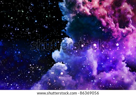 The polar Northern Lights and the stars shine through the clouds and look like a birth of a new nebula after the supernova explosion - stock photo
