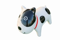 The polka dot dog sculpture made from ceramic