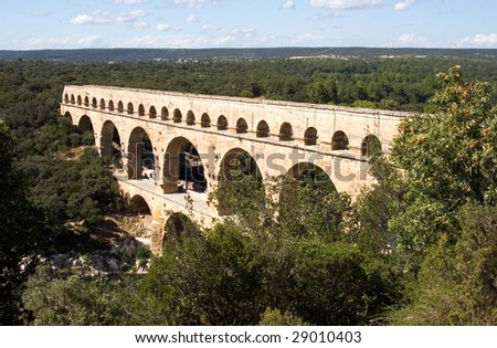The Pont du Gard aqueduct in southern France.