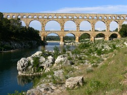 The Pont du Gard is an ancient Roman aqueduct in Southern France