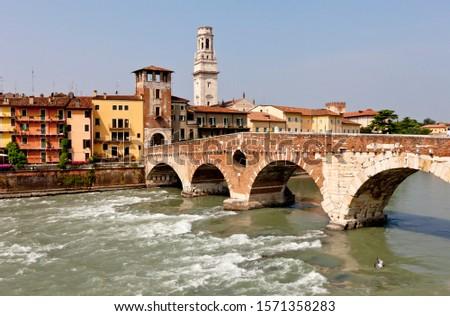 The Ponte Pietra, Adige River, Stone Bridge, Verona, Veneto, Italy