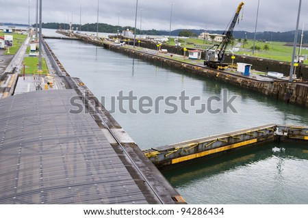 The pool at Gatun Locks on the Panama Canal