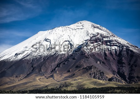 The Popocatepetl volcano is one of Mexico active volcanoes, it is located between Mexico City and Puebla City in central Mexico. #1184105959