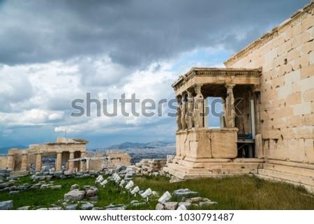 The Porch of the Caryatids, Erechtheion or Erechtheum, Acropolis of Athens in Greece