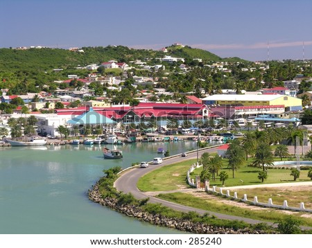 The port of St. John's / Antigua - stock photo