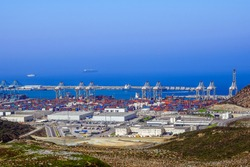 The port of Tangier Med located on the Strait of Gibraltar in northern Morocco is the largest port in Africa