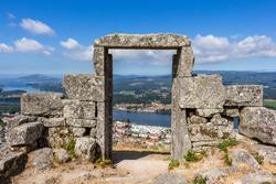 The Porta do Ceu (Heaven's Door) or the Espirito Santo viewpoint at the Gavea Hill in Vila Nova de Cerveira. The remaining ruins of the Espírito Santo Chapel facing the Minho River and Spain.