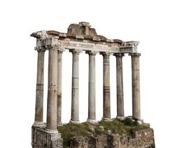 The Porticus Deorum Consentium (Italian: Portico degli Dei Consenti - English: Portico of the Harmonious Gods) in Romanum Forum (Rome) isolated on white background