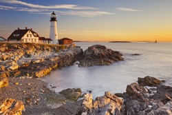 The Portland Head Lighthouse in Cape Elizabeth, Maine, USA. Photographed at sunrise.