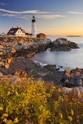 The Portland Head Lighthouse in Cape Elizabeth, Maine, USA. Photographed at sunrise.