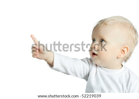 the portrait of little boy isolated on white background