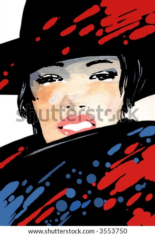The portrait of the woman drawn by a paint in a hat and a coat with the lifted collar. Additional vector format EPS