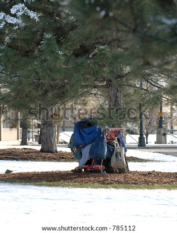 The possessions of a homeless person are under a tree in the snow
