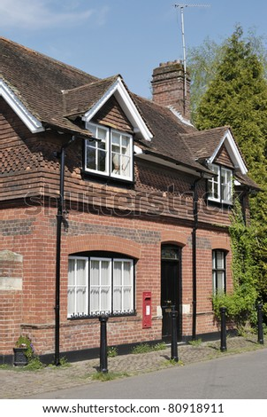 The Post Office in the village of Shoreham, Kent, England. Brick and tile building