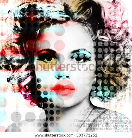 The poster with a portrait of a beautiful girl in the style of contemporary art.\r