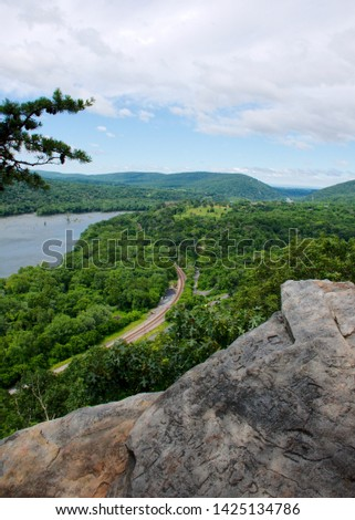 The Potomac River Vallery as viewed from Weverton Cliffs with Loudoun Heights and Maryland Heights in the distance