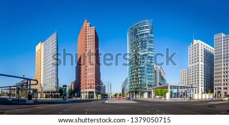 the potsdamer platz under a blue sky, berlin Stock foto ©