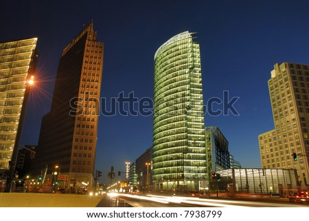 The Potsdammer Platz in Berlin by night