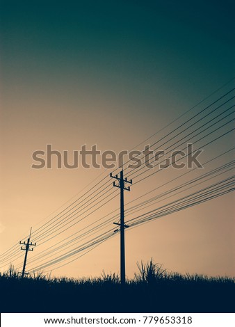 the power line in the morning light background in vintage style #779653318