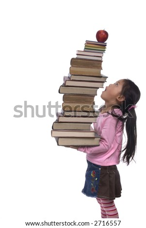 The power of the future is your education. A young girl hold a tall tower of books. - stock photo